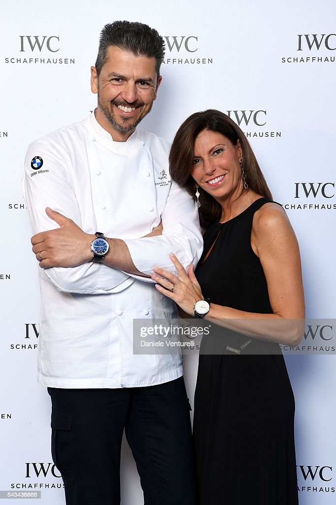 Chef Andrea Berton and Sandra Berton attends IWC Boutique Opening Dinner on June 28, 2016 in Milan, Italy.