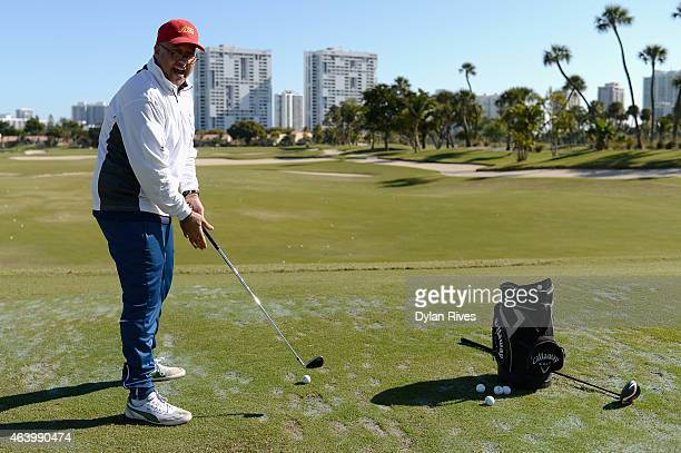 Chef Andrew Zimmern attends the Montage Hotels Resorts' 9Hole Celebrity Chef Golf Tournament hosted by Jose Andres during the 2015 Food Network...