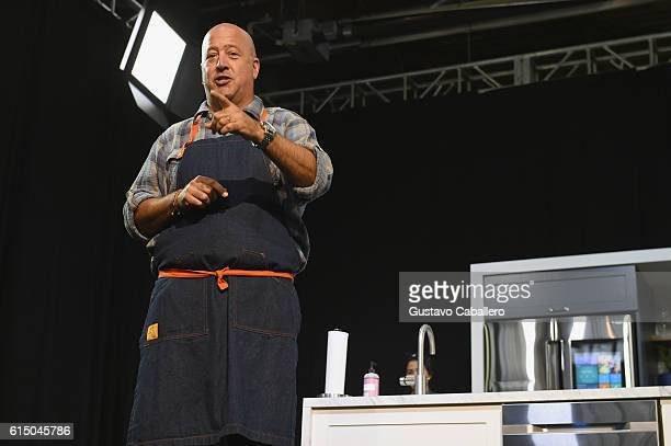 Chef Andrew Zimmern on stage during the Grand Tasting presented by ShopRite featuring Samsung culinary demonstrations presented by MasterCard at the...