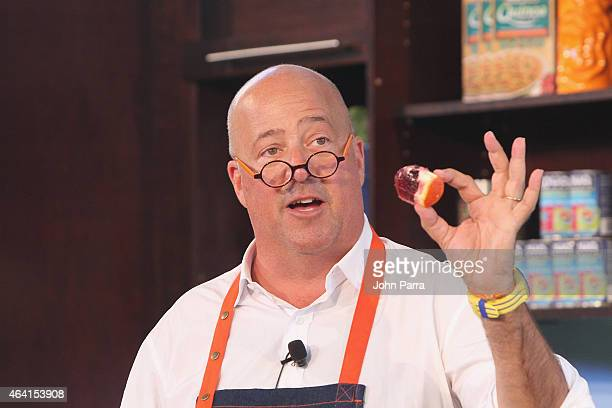 Chef Andrew Zimmern prepares food on stage at Fun and Fit as a Family sponsored by Carnival featuring Goya Kidz Kitchen during 2015 Food Network...