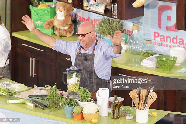 Chef Andrew Zimmern speaks at Badia Spices' Fun And Fit As A Family Sponsored By Carnival Geaturing Goya Foods Kidz Kitchen during 2016 Food Network...