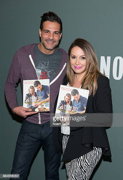 Chef Angelo Sosa and Angie Martinez promote their cookbook 'Healthy Latin Eating' at at Barnes Noble Tribeca on February 26 2015 in New York City