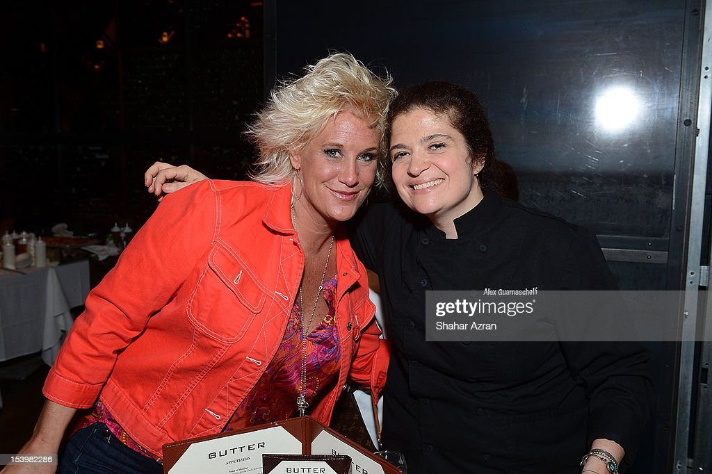 Chef Anne Burrell and Chef Alex Guarnaschelli attend the 'Chopped' Event at Landmarc on October 11, 2012 in New York City.