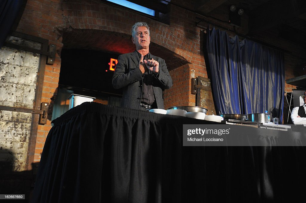 Chef <a gi-track='captionPersonalityLinkClicked' href=/galleries/search?phrase=Anthony+Bourdain&family=editorial&specificpeople=2310617 ng-click='$event.stopPropagation()'>Anthony Bourdain</a> addresses attendees during the press conference announcing the Inaugural World Street Food Congress 2013 at Spice Market on February 25, 2013 in New York City.