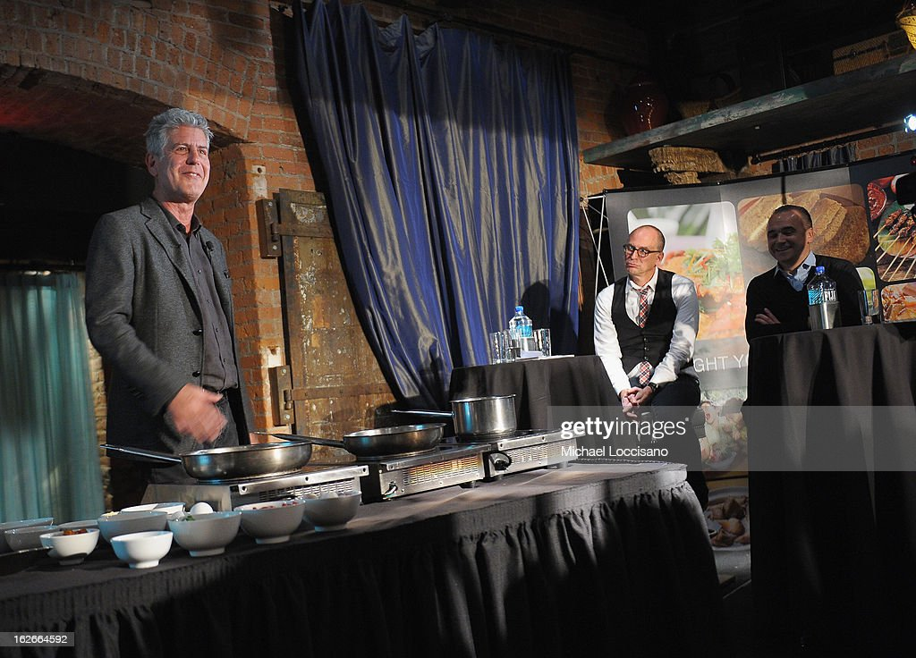 Chef <a gi-track='captionPersonalityLinkClicked' href=/galleries/search?phrase=Anthony+Bourdain&family=editorial&specificpeople=2310617 ng-click='$event.stopPropagation()'>Anthony Bourdain</a> (L) addresses attendees while Saveur magazine editor-in-chief James Oseland (C), and Chef/Spice Market Owner Jean-Georges Vongerichten look on during the press conference announcing the Inaugural World Street Food Congress 2013 at Spice Market on February 25, 2013 in New York City.