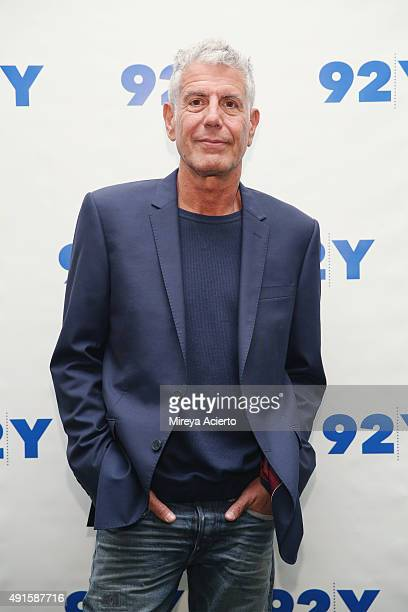 Chef Anthony Bourdain attends 92nd Street Y presents Jacques Pepin Anthony Bourdain Home and Away at 92nd Street Y on October 6 2015 in New York City