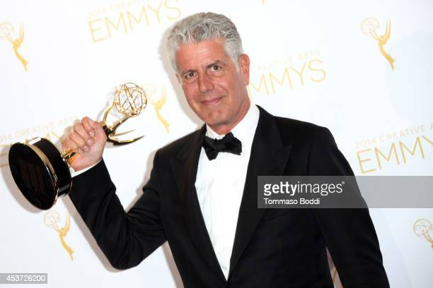 Chef Anthony Bourdain attends the 2014 Creative Arts Emmy Awards press room held at the Nokia Theatre LA Live on August 16 2014 in Los Angeles...