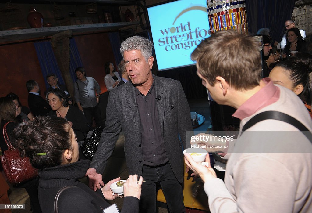 Chef <a gi-track='captionPersonalityLinkClicked' href=/galleries/search?phrase=Anthony+Bourdain&family=editorial&specificpeople=2310617 ng-click='$event.stopPropagation()'>Anthony Bourdain</a> (C) attends The Inagural World Street Food Congress 2013 at Spice Market on February 25, 2013 in New York City.