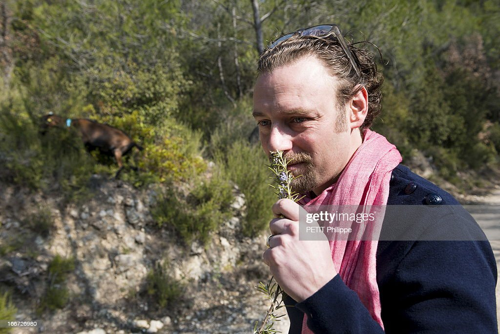 Chef Arnaud Donckele poses at a producer of goat cheese on March 21, 2013 in Saint Tropez,France. Chef of the restaurant La Vague D'Or in the hotel La Residence de la Pinede who received his 3rd star from the famous gourmet guide Michelin.