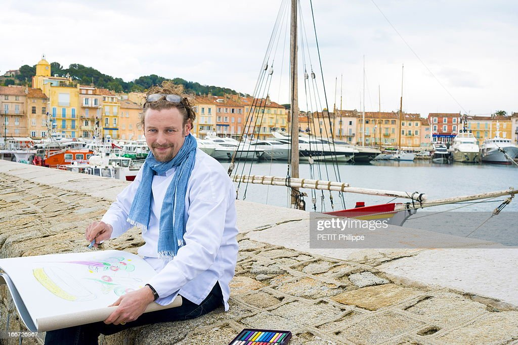 Chef Arnaud Donckele poses in the port of Saint Tropez on March 21, 2013 in Saint Tropez,France. Chef of the restaurant La Vague D'Or in the hotel La Residence de la Pinede who received his 3rd star from the famous gourmet guide Michelin.