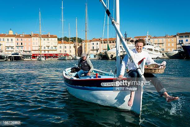 Chef Arnaud Donckele poses in the port of Saint Tropez on the former boat Piou Piou which belonged to Brigitte Bardot on March 21, 2013 in Saint Tropez,France. Chef of the restaurant La Vague D'Or in the hotel La Residence de la Pinede who received his 3rd star from the famous gourmet guide Michelin.