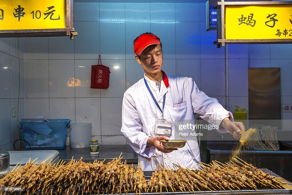 Chef At Donghuamen Night Market, Wangfujing : Stock Photo