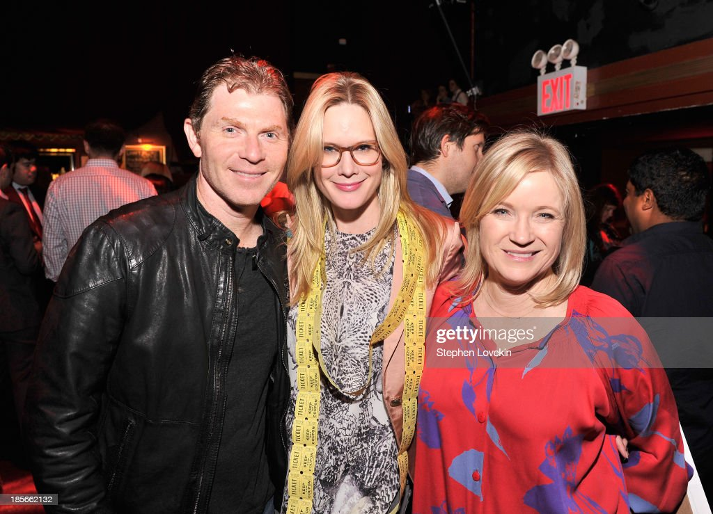 Chef Bobby Flay, actress Stephanie March, and Tracy McCubbin attend the OneKid OneWorld Hosts A Night Of Comedy at Gramercy Theatre on October 22, 2013 in New York City.