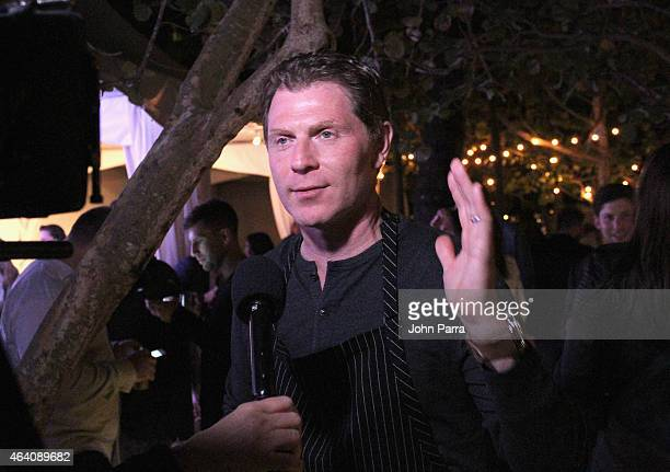 Chef Bobby Flay speaks at Bobby Flay's Caribbean Heat during the 2015 Food Network Cooking Channel South Beach Wine Food Festival presented by FOOD...