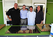 GE Chef Brian Logson GE General Manager Tim McWaters GE Chef Joe Castro and wine consultant Michael Green pose at AD Oasis Hosts GE Monogram's...