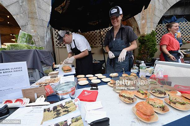 Chef Bryan Mayer presents his dish at The 7th Annual Saveur Summer Cookout at Boat Basin Cafe on June 21 2016 in New York City