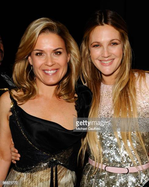 Chef Cat Cora and actress Drew Barrymore backstage at the 21st Annual GLAAD Media Awards held at Hyatt Regency Century Plaza Hotel on April 17 2010...
