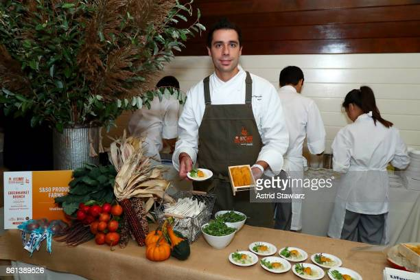Chef Cedric Vongerichten attends the Greenmarket Brunch presented by Lifeway Kefir hosted by Geoffrey Zakarian at The Biergarten at The Standard on...