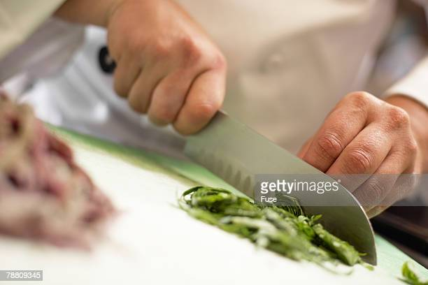 Chef Chopping Basil