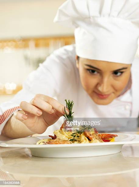 Chef Completing Pasta