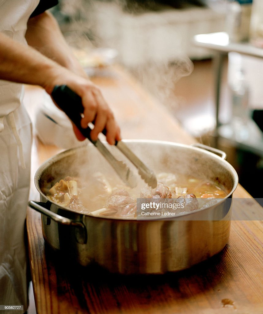Chef cooking a Lamb Stew : Stock Photo