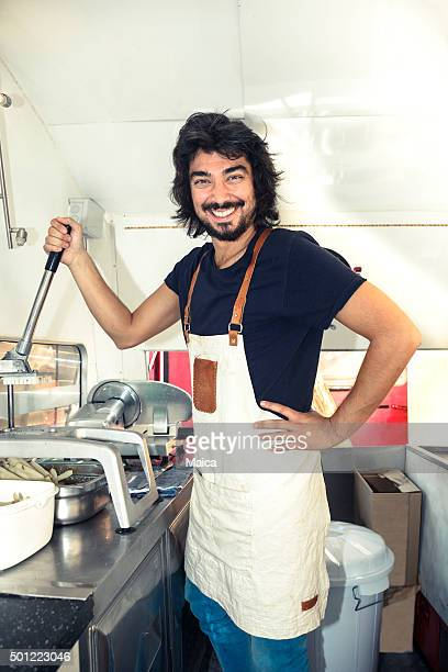 Chef cooking in a food truck