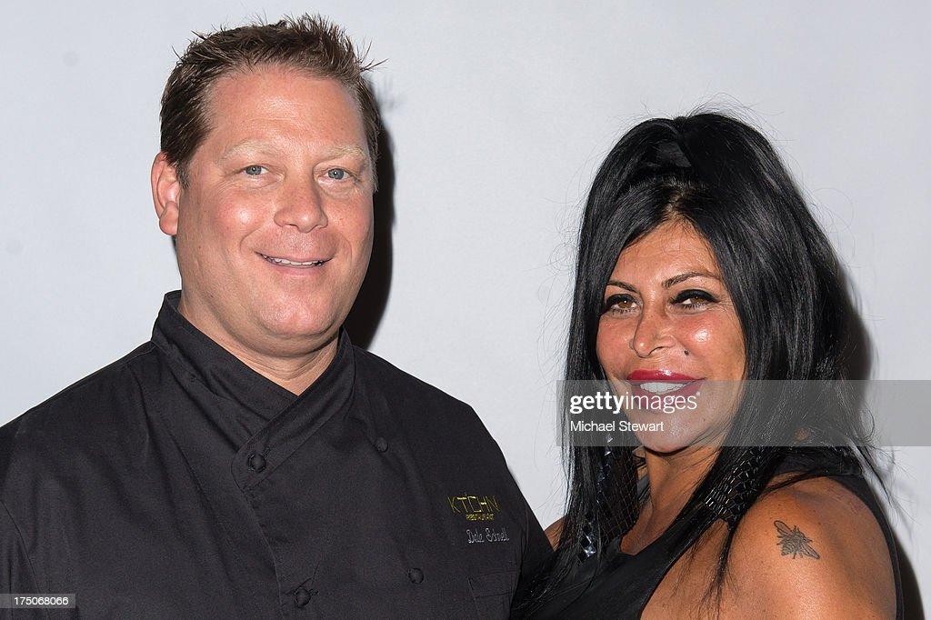 Chef Dale Schnell (L) and tv personality Angela '<a gi-track='captionPersonalityLinkClicked' href=/galleries/search?phrase=Big+Ang&family=editorial&specificpeople=8749866 ng-click='$event.stopPropagation()'>Big Ang</a>' Raiola attend dinner and a movie at KTCHN Restaurant on July 30, 2013 in New York City.