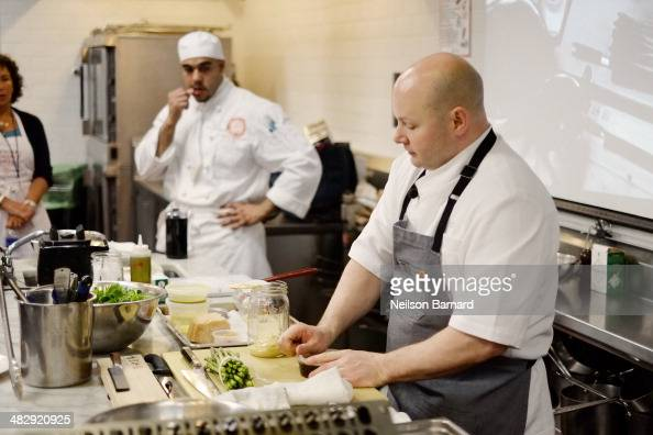 Chef Dan Kluger of ABC Cocina ABC Kitchen prepares Pea Toast with HouseCured Bacon Chilies Asparagus Salad with Fried Egg Mustard Vinaigrette...