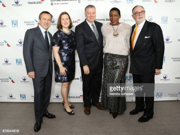 Chef Daniel Boulud Executive Director of Citymeals on Wheels Beth Shapiro honorees Nick Valenti and Tren'ness WoodsBlack and Bob Grimes attend the...