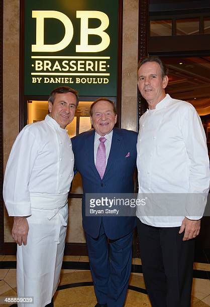 Chef Daniel Boulud Las Vegas Sands Corp Chairman and CEO Sheldon Adelson and chef Thomas Keller attend the celebration of the opening of db Brasserie...