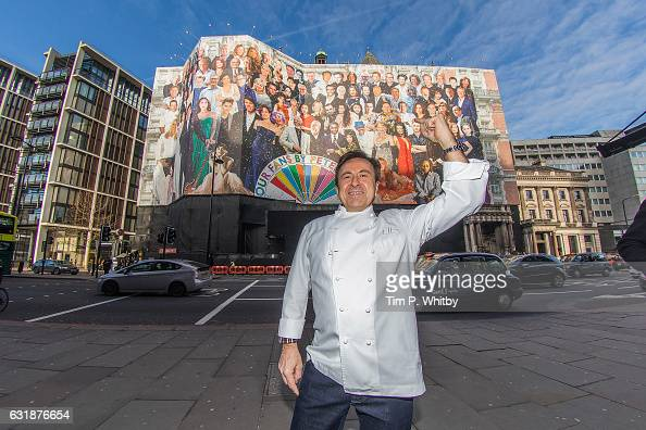 Chef Daniel Boulud poses for a photo in front of Mandarin Oriental Hyde Park as a new artwork 'Our Fans' by Sir Peter Blake is unveiled on January 17...