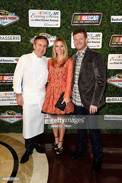 Chef Daniel Boulud poses with NASCAR Sprint Cup Series driver Dale Earnhardt Jr and his girlfriend Amy Reimann during the NASCAR Evening Series...