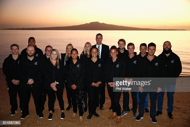 Chef de Mission Rob Waddell poses with athletes on the road to the Rio Olympic Games during the Olympic Games 100 days countdown ceremony at...