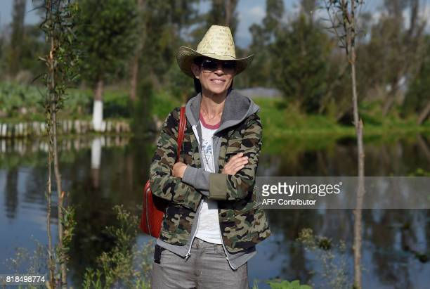 US chef Dominique Crenn poses for pictures during a symposium on biodiversity and gastronomy amid the floating gardens of Xochimilco a UNESCO World...