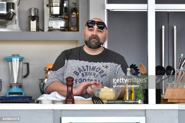 Chef Duff Goldman leads a cooking demonstration on stage at Goya Foods' Grand Tasting Village Featuring Mastercard Grand Tasting Tents KitchenAid...