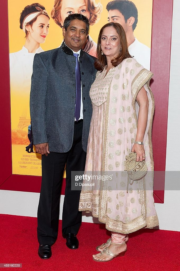 Chef Floyd Cardoz (L) and Barkha Cardoz attend 'The Hundred-Foot Journey' New York premiere at the Ziegfeld Theater on August 4, 2014 in New York City.