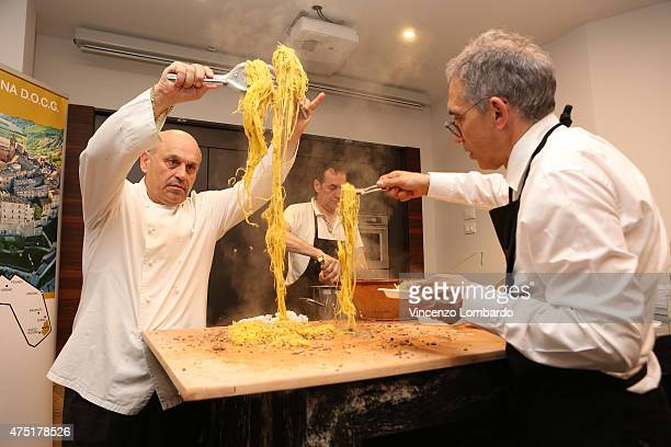 Chef Francesco Conti attends a show cooking at the real Italian food pavilion at Fiera Milano Rho on May 29 2015 in Milan Italy