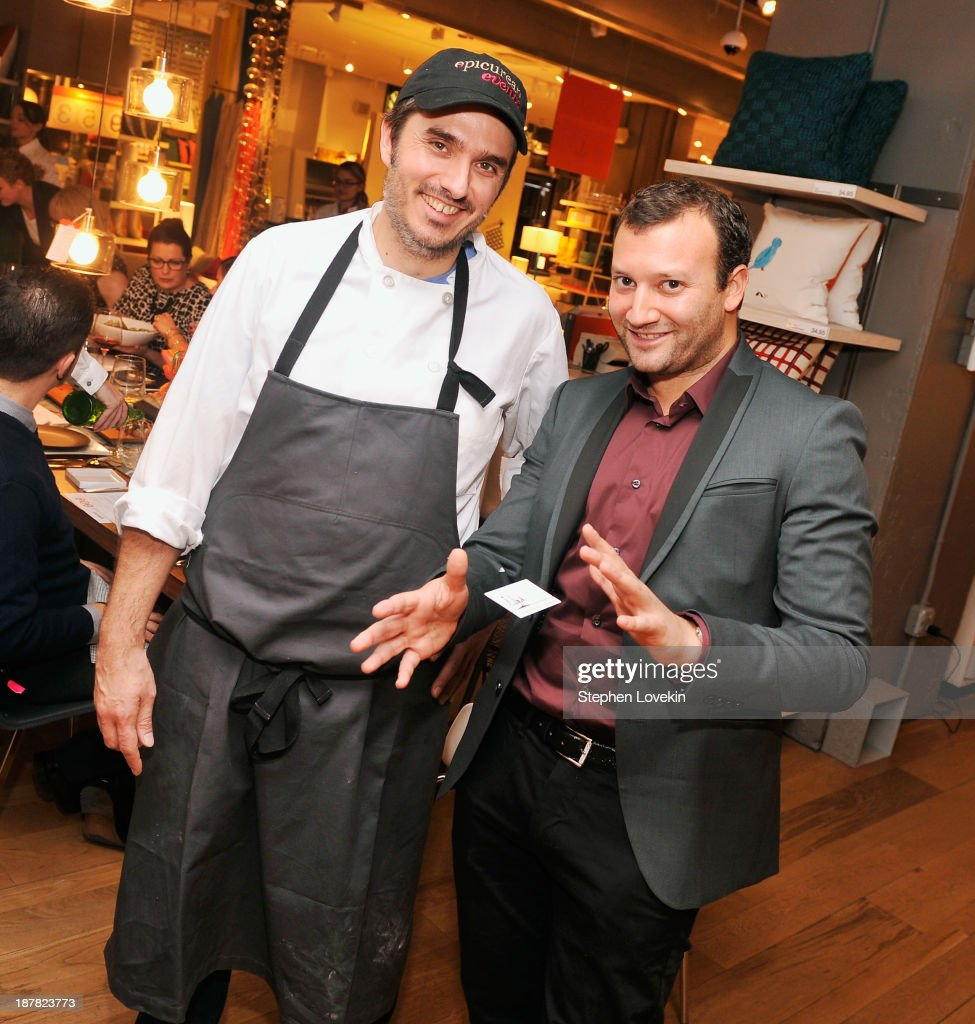 Chef Gabe Thompson and Foodie Magician Josh Beckerman attend The Share Your Table Dinner Party hosted by CB2 and Share Our Strength at CB2 Eastside on November 12, 2013 in New York City.