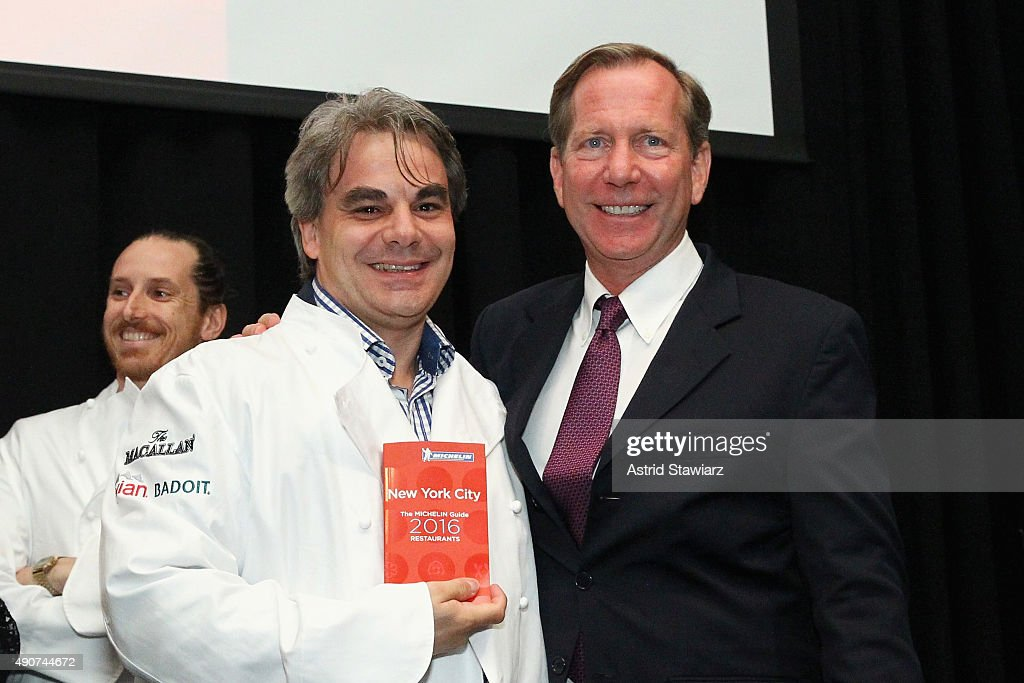 Chef Gabriel Kreuther (L) and Michelin Guide international director <a gi-track='captionPersonalityLinkClicked' href=/galleries/search?phrase=Michael+Ellis&family=editorial&specificpeople=214128 ng-click='$event.stopPropagation()'>Michael Ellis</a> attends the Michelin celebration of the 2016 Michelin Star Chef and restaurant recipients from New York City at Classic Car Club on September 30, 2015 in New York City.