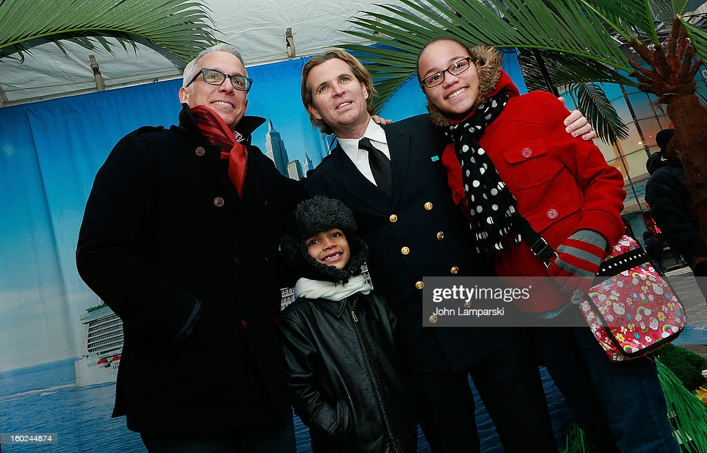 Chef Geoffrey Zakarian and Director of Hotel Operations Klaus Lugmaier attend the Norwegian Warming Station launch in Times Square on January 28, 2013 in New York City.