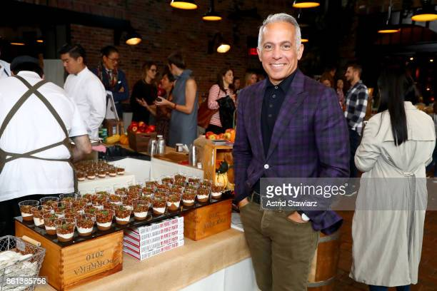 Chef Geoffrey Zakarian poses with his Pear and Apple parfait during Greenmarket Brunch presented by Lifeway Kefir hosted by Geoffrey Zakarian at The...