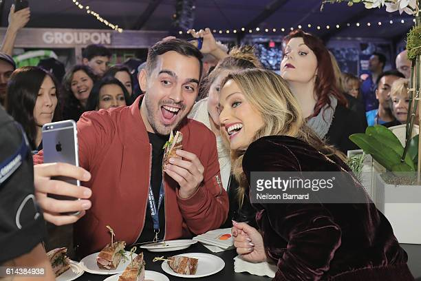 Chef Giada De Laurentiis poses for a selfie with guests at Barilla's Italian Table hosted by Giada De Laurentiis during the Food Network Cooking...