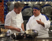 Chef Gordon Ramsay and contestant Richard Mancini on HELL'S KITCHEN airing Thursday April 17 2014 on FOX