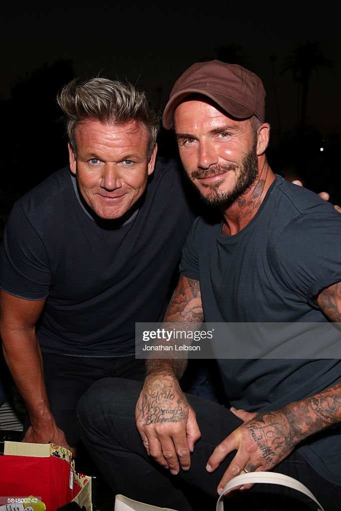 Chef Gordon Ramsay and David Beckham attend the Cinespia Presents 'Sabrina' At The Hollywood Forever Cemetery at Hollywood Forever on July 30 2016 in...