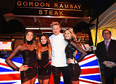 Chef Gordon Ramsay at the Gordon Ramsay Steak booth during Vegas Uncork'd by Bon Appetit's Grand Tasting event at Caesars Palace on April 24 2015 in...