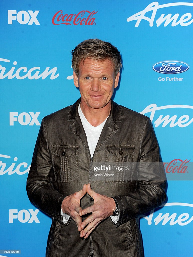 Chef <a gi-track='captionPersonalityLinkClicked' href=/galleries/search?phrase=Gordon+Ramsay&family=editorial&specificpeople=210520 ng-click='$event.stopPropagation()'>Gordon Ramsay</a> attends the FOX 'American Idol' finalists party at The Grove on March 7, 2013 in Los Angeles, California.