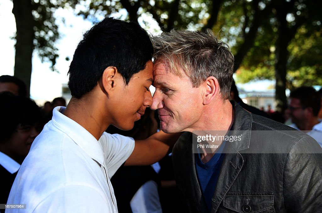 Chef <a gi-track='captionPersonalityLinkClicked' href=/galleries/search?phrase=Gordon+Ramsay&family=editorial&specificpeople=210520 ng-click='$event.stopPropagation()'>Gordon Ramsay</a> is greeted by a pupil with a traditional Maori greeting of a Hongi during a visit to Papakura High School on April 26, 2013 in Auckland, New Zealand. Ramsay is in Auckland to host a fundraising Gala in support of The Rising Foundation dedication to helping at-risk youth in South Auckland.