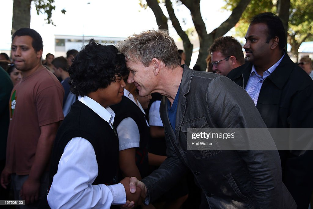 Chef Gordon Ramsay is greeted by a student with a traditional Maori greeting of a Hongi during a visit to Papakura High School on April 26, 2013 in Auckland, New Zealand. Ramsay is in Auckland to host a fundraising Gala in support of The Rising Foundation dedication to helping at-risk youth in South Auckland.