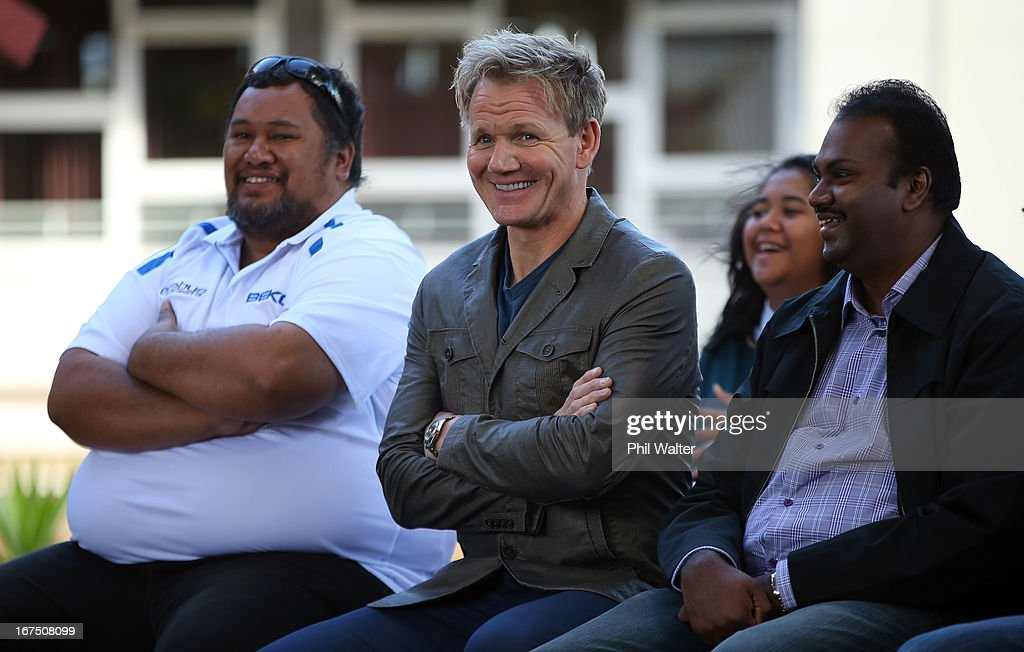 Chef <a gi-track='captionPersonalityLinkClicked' href=/galleries/search?phrase=Gordon+Ramsay&family=editorial&specificpeople=210520 ng-click='$event.stopPropagation()'>Gordon Ramsay</a> is welcomed to Papakura High School to meet with students on April 26, 2013 in Auckland, New Zealand. Ramsay is in Auckland to host a fundraising Gala in support of The Rising Foundation dedication to helping at-risk youth in South Auckland.