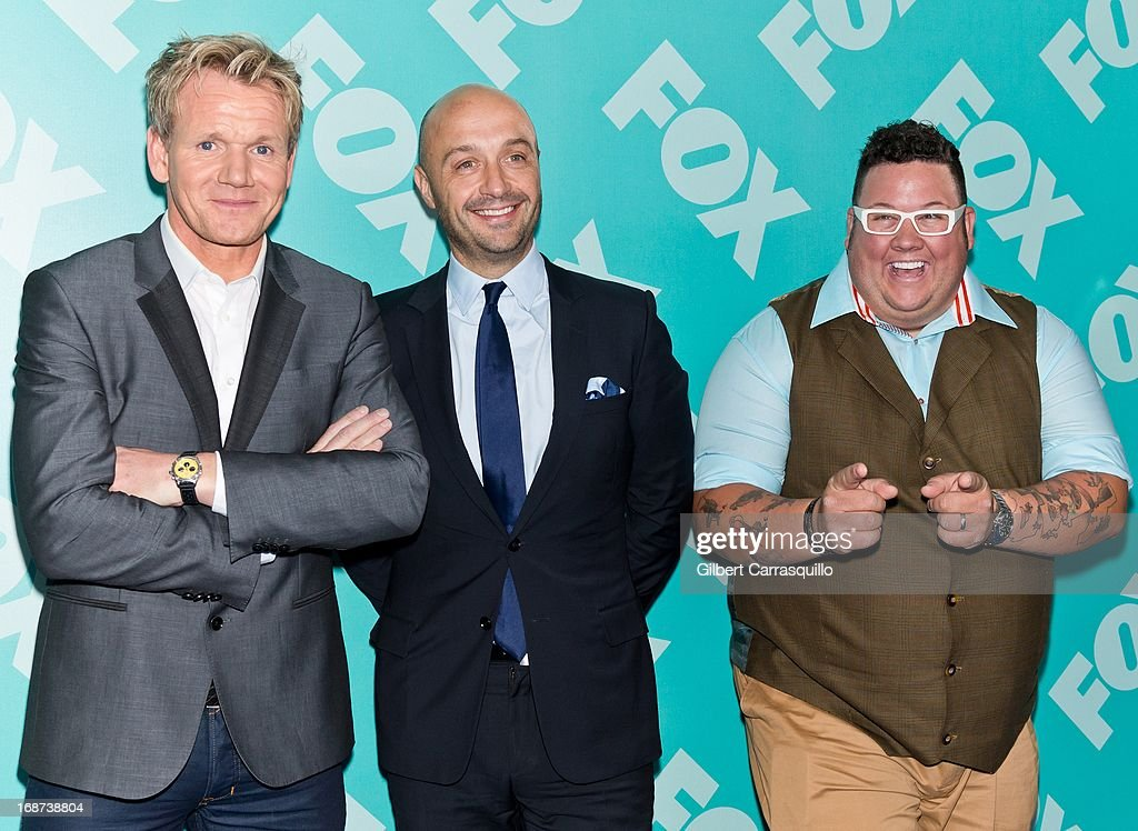 Chef Gordon Ramsay, Joe Bastianich and Graham Elliot of 'MasterChef' attend the FOX 2103 Programming Presentation Post-Party at Wollman Rink - Central Park on May 13, 2013 in New York City.